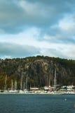 Norwegian harbor at fall Stock Photography