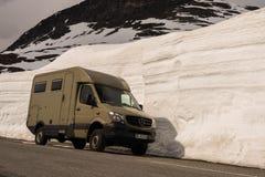 Norwegian highland, june 2015, camper in Snowwalls stock image