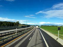 Norwegian highway. In Vestfold county in Eastern Norway. Part of the European route E18 stock images