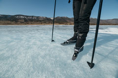 Norwegian hiking skates. An experimental tour skates for prolonged trips to the ice. Used in Russia. Stock Photos
