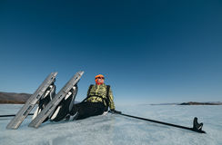 Norwegian hiking skates. An experimental tour skates for prolonged trips to the ice. Used in Russia. Stock Image