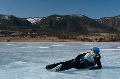 Norwegian hiking skates. An experimental tour skates for prolonged trips to the ice. Used in Russia. Royalty Free Stock Images