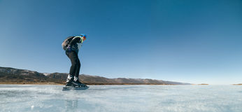Norwegian hiking skates. An experimental tour skates for prolonged trips to the ice. Used in Russia. Stock Images