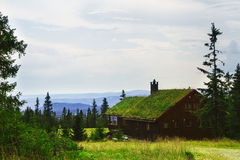 Norwegian holiday house, hytte. Wiev Royalty Free Stock Photos