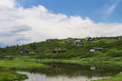 Norwegian holiday houses, hytte. Wiev Royalty Free Stock Photography