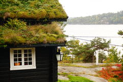 Norwegian house and fjord background, Norway Royalty Free Stock Image