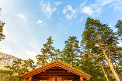 Norwegian house with grass roof Stock Images