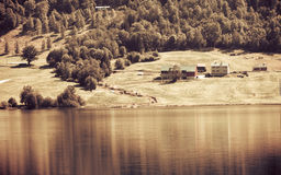 Norwegian house hytte in the mountains Stock Images