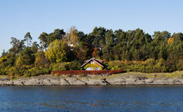 Norwegian House. On an island in the Oslo fjord, Norway royalty free stock images