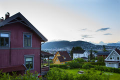 Norwegian house in mountains Stock Images