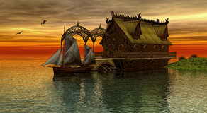 Norwegian house. Wooden Dragon head roof on  at the sunset 3d rendering Stock Image