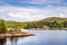 Norwegian Houses in the North Sea Royalty Free Stock Images