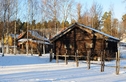 Norwegian huts. Old traditional Norwegian huts in Oslo, Norway Royalty Free Stock Photos