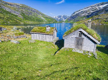 Norwegian huts Stock Image