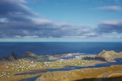 Norwegian island. Scenic norwegian town Sorland with colorful houses on island of Vaeroy, Lofoten islands, Norway Stock Photo