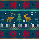 Norwegian Knitted pattern with deers Stock Photo