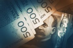 Norwegian Krone Banknotes. Closeup Photo. Norwegian Currency Concept Royalty Free Stock Photo