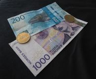 Norwegian Krone notes and coins, Norway Royalty Free Stock Photography