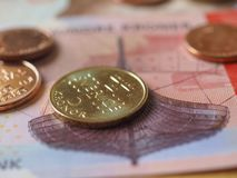 Norwegian Krone notes and coins, Norway Stock Image