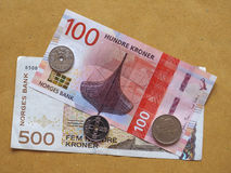 Norwegian Krone notes and coins, Norway Royalty Free Stock Photos