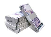 Norwegian Krone Notes Bundles Stack. A stack of bundled Norwegian Krone banknotes on an isolated background Stock Images