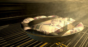 Norwegian Kronor Money Pie Baking In The Oven Stock Photo