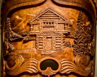 Norwegian Kubbestol Carving of a Fort House Royalty Free Stock Photography