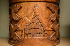 Norwegian Kubbestol Carving of a Sacred Church Stock Image