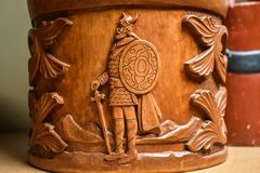 Norwegian Kubbestol Carving of a Viking Stock Photography