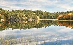 Norwegian lake, around the autumn forest Stock Photos