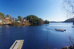 Norwegian lake Tokevann. Drangedal, Norway, March 21, 2015: View of the Norwegian lake Tokevann consisting of the upper and Lower Toke. Flows through the city stock photo