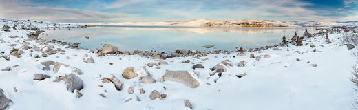 Norwegian lake at wintertime Royalty Free Stock Photo