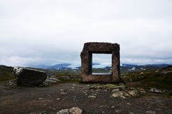 Norwegian landmark. Norwegian mountains with the sculpture Royalty Free Stock Photo