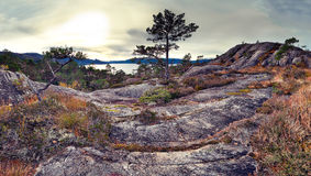 Norwegian landscape. Panoramic view of norwegian rocks Royalty Free Stock Images