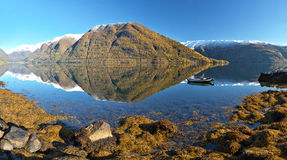 Norwegian landscape. Panoramic view of norwegian fjord and rocks Royalty Free Stock Photo