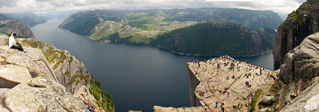Norwegian landscape. A beautiful rock overhanging the fjord, Preikestolen, Lysefjord, Norway Royalty Free Stock Image