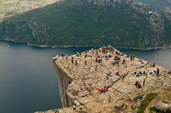 Norwegian landscape. A beautiful rock overhanging the fjord, Preikestolen, Lysefjord, Norway Royalty Free Stock Photography