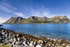 Norwegian landscape. Beautiful Norwegian fjords and the Arctic Ocean Stock Image