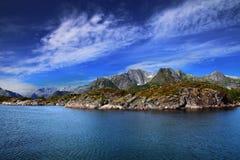 Norwegian landscape. Beautiful Norwegian fjords and the Arctic Ocean Stock Photo