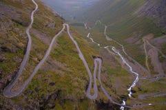 Norwegian landscape. Trollstigen mountain road in Norway river HDR Royalty Free Stock Photography