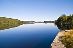 Norwegian landscape. Idde fjord in Halden at Bakke in Idd, typical Norwegian landscape Royalty Free Stock Image