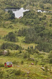 Norwegian landscape with cabins. Ulriken mountain. Bergen surrou Stock Photo