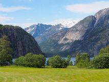 Norwegian landscape. Grassland, fjord, snow-capped mountains. Royalty Free Stock Photo