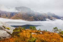 Norwegian landscape of Lysefjord in the Autumn royalty free stock images