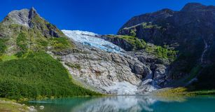 Norwegian landscape with milky blue glacier lake, glacier and green mountains. Norway. Norwegian landscape with milky blue glacier lake, glacier and green royalty free stock photos
