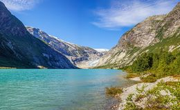 Norwegian landscape with milky blue glacier lake, glacier and green mountains. Norway. Norwegian landscape with milky blue glacier lake, glacier and green royalty free stock images
