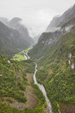 Norwegian landscape with mountain and river. Stalheim viewpoint. Stock Photos