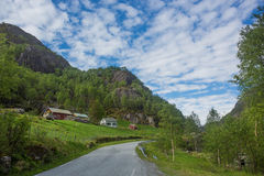 Norwegian landscape with mountains. And houses Royalty Free Stock Photography