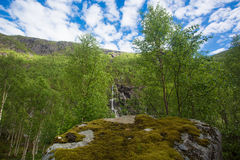 Norwegian landscape with mountains. And waterfall, 520 beautiful road Stock Photo