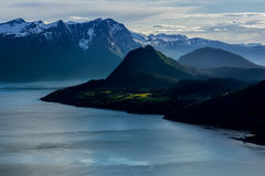 Norwegian landscape. Is not passed too much time since my visit to the lands of North, but certainly left its mark in my thoughts; those impressive landscapes Stock Image